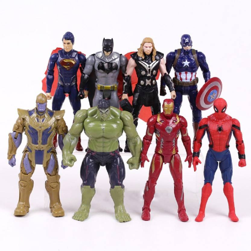 17a9b60b imodish Marvel Avengers Infinity War Set of 8 Spiderman, Iron Man, Hulk,  Thor, Captain America, Batman, Thanos, Superman 17cms Action Figure Toys  Set ...