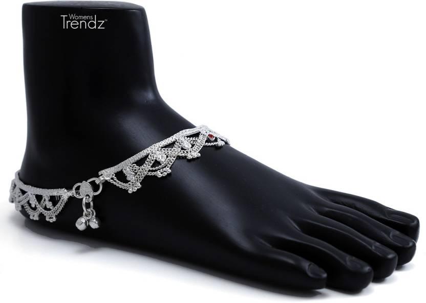 28f244f9e3 Womens Trendz Womens Trendz Handmade Elegant Silver Plated  Ankelt Ghungroo Painjan for Womens and Girls Alloy Anklet Price in India -  Buy Womens Trendz ...