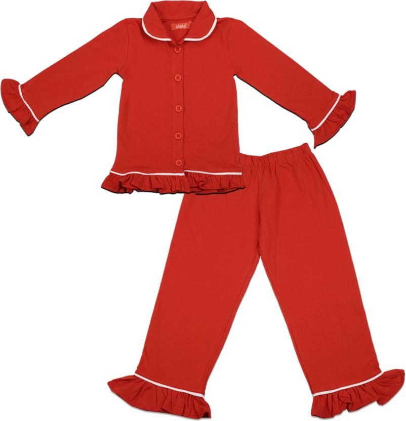 32416bfa7f Olele Kids Nightwear Girls Solid Cotton Price in India - Buy Olele ...