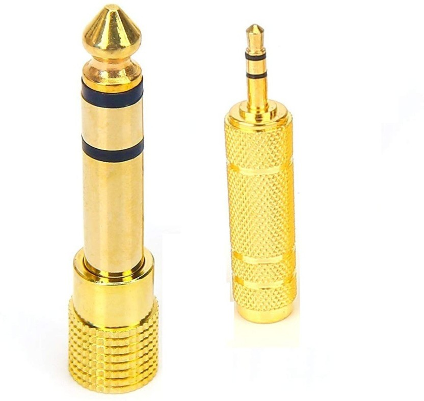 "Gold 6.3mm 1//4/"" Male to 3.5mm 1//8/"" Female Stereo Plug Audio Adapter Converter"