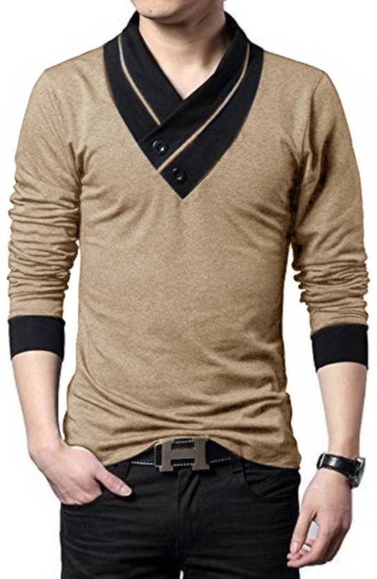 2976758052 Try This Color block Men V-neck Gold, Black T-Shirt - Buy Try This ...