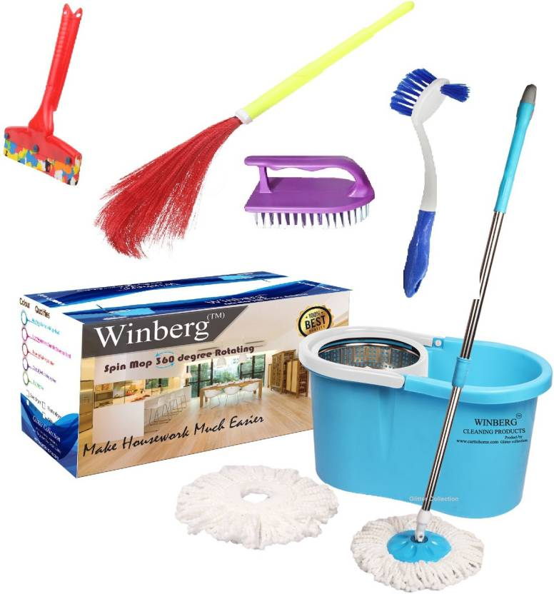 Winberg Spin Mop Home Cleaning Combo Pack Mop Broom Toilet Brush