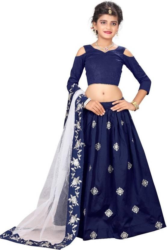 F Plus Fashion Girls Lehenga Choli Party Wear Solid Ghagra, Choli, Dupatta Set  (Blue, Pack of 1)