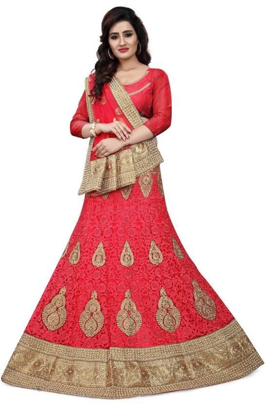 f7ada4b96c78a1 Punjanart Embroidered, Self Design Semi Stitched Lehenga, Choli and Dupatta  Set (Red)
