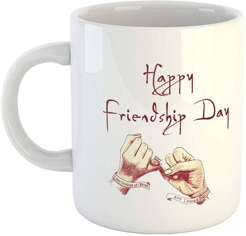 a5ecfd1d703 iKraft Friendship Day Gift CoffeeMug - Happy Friendship Day Printed - 11oz  Ceramic White Tea Cup for Your Friends/Best Friends Ceramic Mug (325 ml)