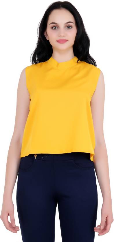 867ff43a991a9 My Swag Casual Sleeveless Solid Women's Yellow Top