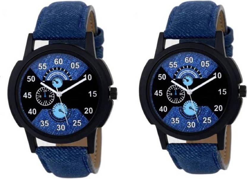 f7d96abf509 Lifetime blue color combo watch for boys leather belt watches for men wrist  watch unique stylish