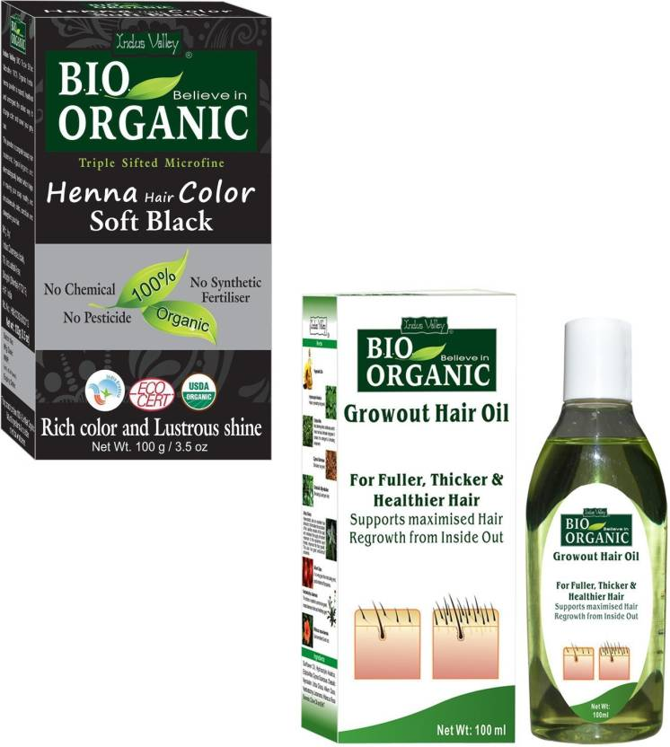 Indus Valley Bio Organic Soft Black Henna Hair Color With Hair