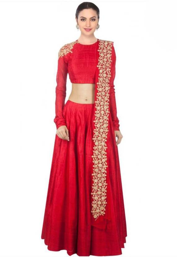 c974e01953 Greenvilla Designs Embroidered Semi Stitched Ghagra, Choli, Dupatta Set (Red )