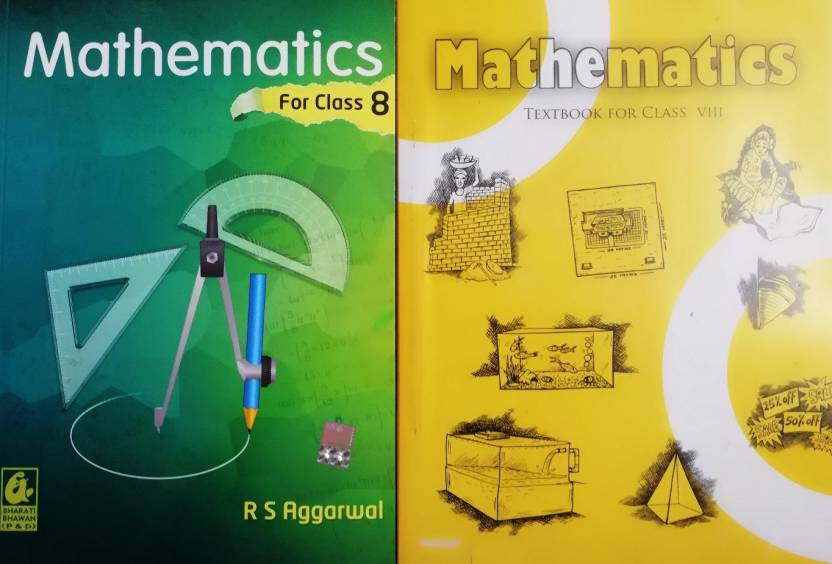 Maths Class 8th Textbook Ncert & RS Aggarwal Guide (Set Of 2