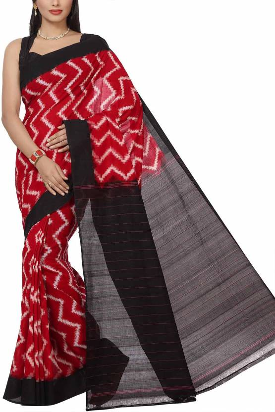 54d732092ef0a6 Buy Rani Saahiba Woven Ikkat Pure Cotton Red Sarees Online @ Best ...