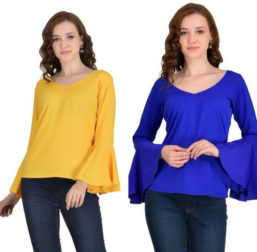 1e258a0b25e2b VAANYA Casual Bell Sleeve Solid Women s Yellow