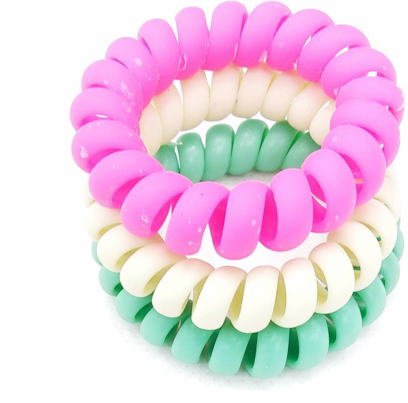 Fairytale Neon Matte Multicolor Spiral Ponytail Holder Hair Rubber Premium  Quality (Set Of 3 Pcs) Rubber Band (Multicolor) bf9b49096e0