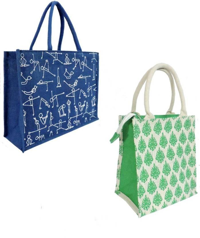 5c0412eb13 EWB Large Yoga Printed Blue Bag   Green Imprint Jute Bag Multipurpose Bag  (Blue
