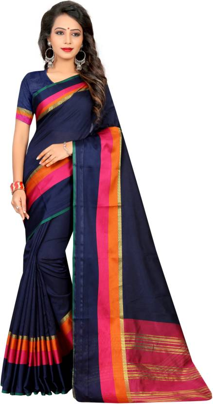 aa4fe18d789186 Buy SATYAM WEAVES Self Design Banarasi Cotton Dark Blue Sarees ...