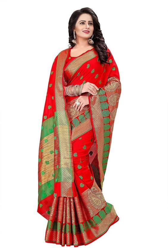 82290cfe37 ecolors fab Woven, Self Design Banarasi Cotton, Banarasi Silk, Tussar Silk  Saree (Red)