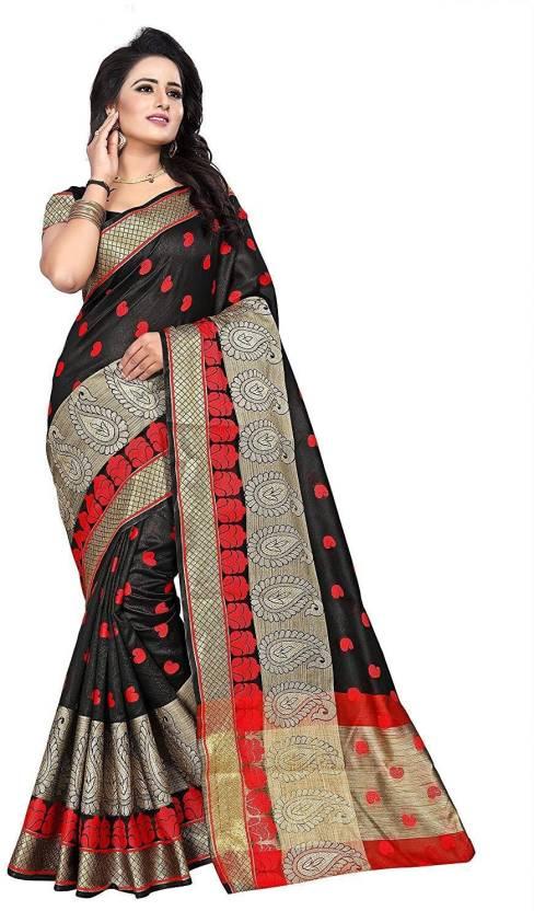 3eb06b56e4 ecolors fab Printed Banarasi Cotton, Banarasi Silk, Tussar Silk Saree  (Multicolor)