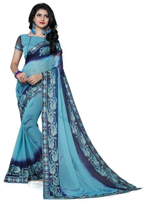 da48954d287a6 Buy Pratham Blue Self Design Bollywood Georgette Blue Sarees Online ...