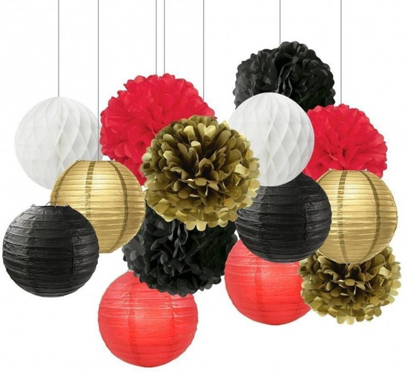 Theme My Party Multicolor Black White Red Gold Tissue Paper Pom Pom