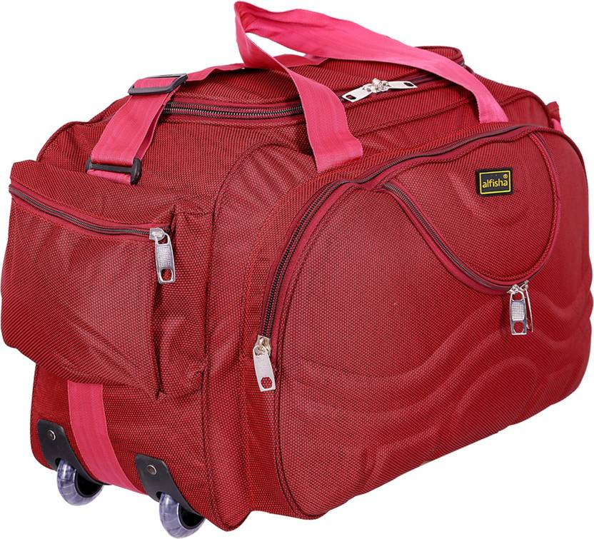 ebd1b43c8e0e alfisha (Expandable) Lightweight Waterproof Luggage Travel Duffel Bag with  Roller wheels - Gala Red Duffel Strolley Bag (Red)