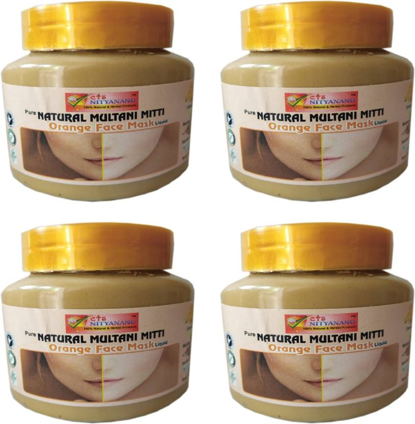 Cts Nityanand Pure Natural Multani Mitti Oreange Face Mask Pack Of 4