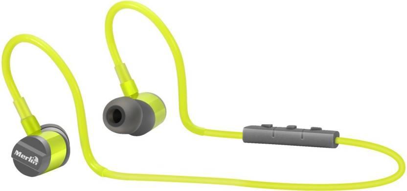 8f46afd7a59 Merlin Wireless Waterproof Earphones (Sonic) Bluetooth Headset with Mic  (Green, In the Ear)