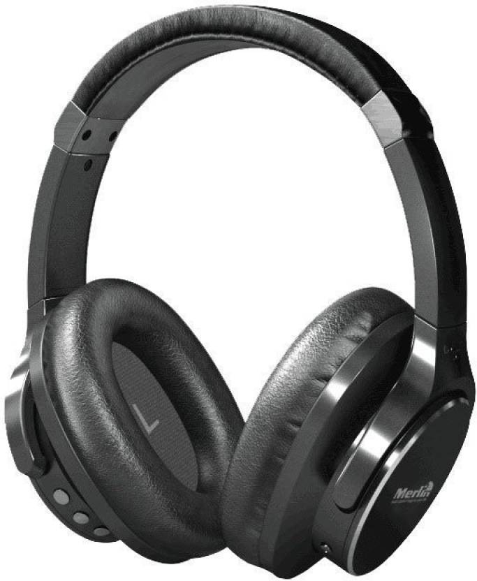Merlin Wireless Headset  Active Noise Cancellation  Bluetooth Headphone Black, Over the Ear