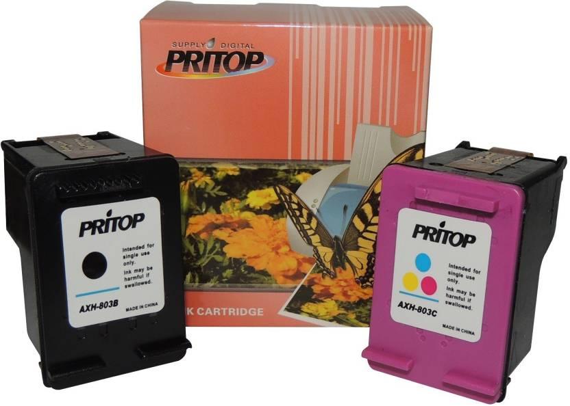 PRITOP 803 XL (1 BK, 1 CO) Ink Cartridge for HP Desk jet 1112, 2131 , 2132  All-In-One Printer - Multi Color Ink Cartridge