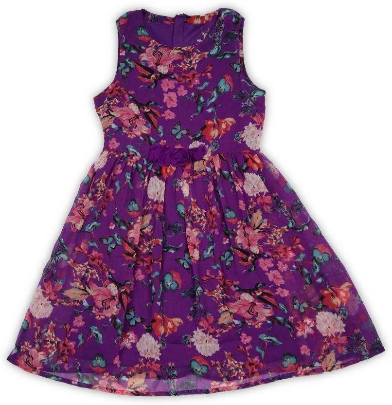 144052fbe Allen Solly Junior Girls Midi/Knee Length Casual Dress (Multicolor,  Sleeveless)