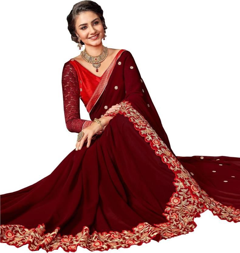 fbe5944c3cb Buy Nirjas Designer Embroidered Bollywood Georgette Brown Sarees ...