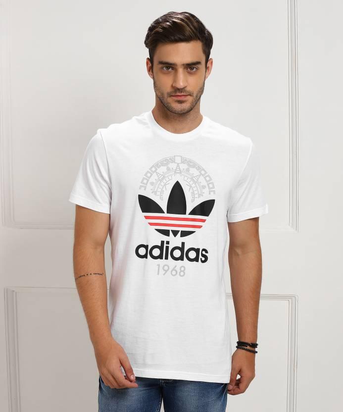 3d342f1f ADIDAS ORIGINALS Solid, Printed Men's Round Neck White T-Shirt - Buy White  ADIDAS ORIGINALS Solid, Printed Men's Round Neck White T-Shirt Online at  Best ...