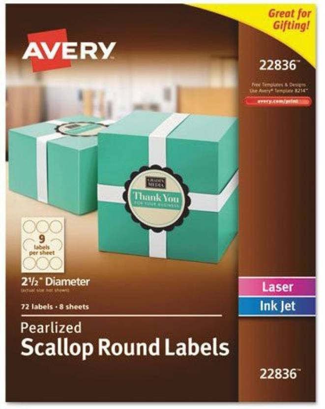 Generic Avery Pearlized Ivory Scallop Round Labels, 2 5-Inch