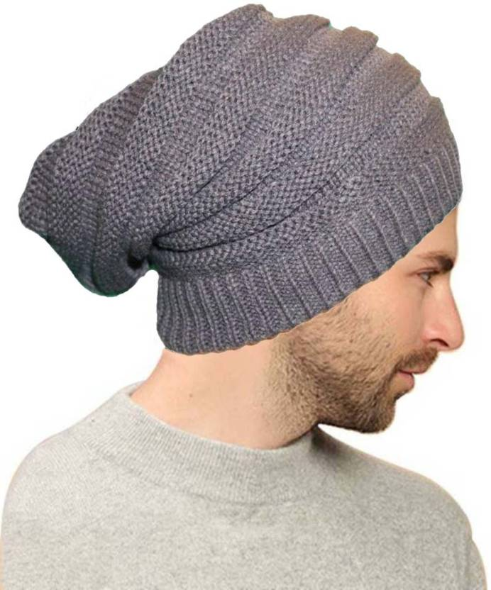6ba9a6cd18 BOLAX Grey Fur Slouchy woolen Long Beanie Cap for Winter skull head Unisex  Cap - Buy BOLAX Grey Fur Slouchy woolen Long Beanie Cap for Winter skull  head ...
