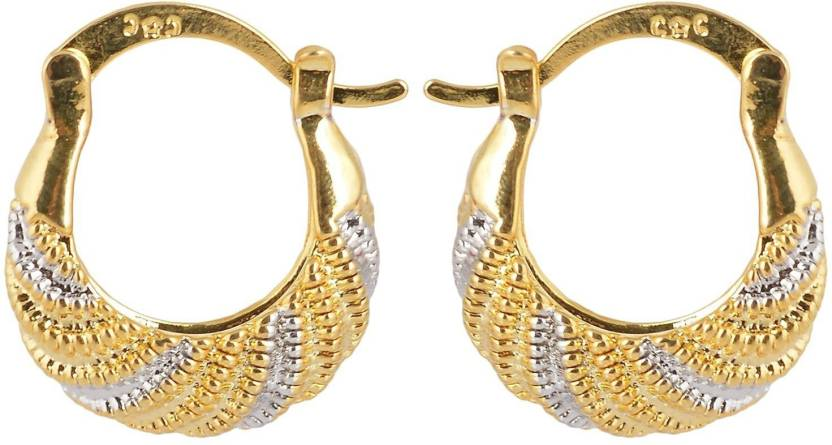 e2b8c22cb Flipkart.com - Buy Memoir Gold and Silver two tone Plated Nicks design  Brass Hoop Earring Online at Best Prices in India