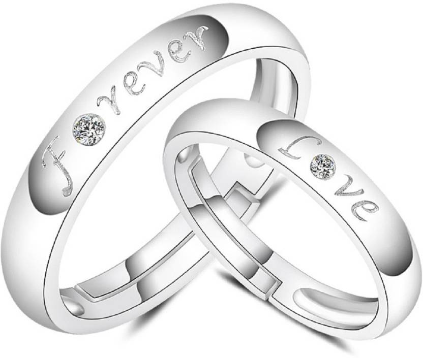 2933358edc ZEVRR Forever Love engraved Silver Swarovski Zirconia Platinum Plated Ring  Set Price in India - Buy ZEVRR Forever Love engraved Silver Swarovski  Zirconia ...