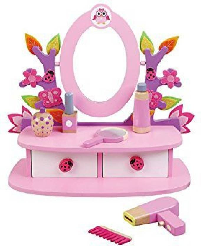 Jumini Childrens Kids Wooden Dressing Table Vanity Mirror Set With Accesories