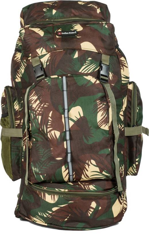 Indian Riders Lightweight Travel Hiking Rucksack Bag Olive Green in forest  print- 50 L Rucksack - 50 L (Green) 731e5187555e3