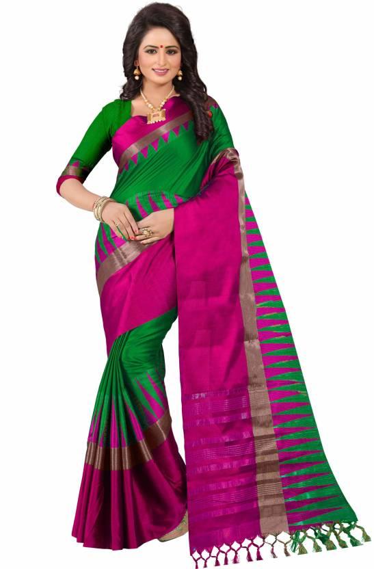 66dd74db3ad Buy Bombey Velvat Fab Woven Kanjivaram Cotton Silk