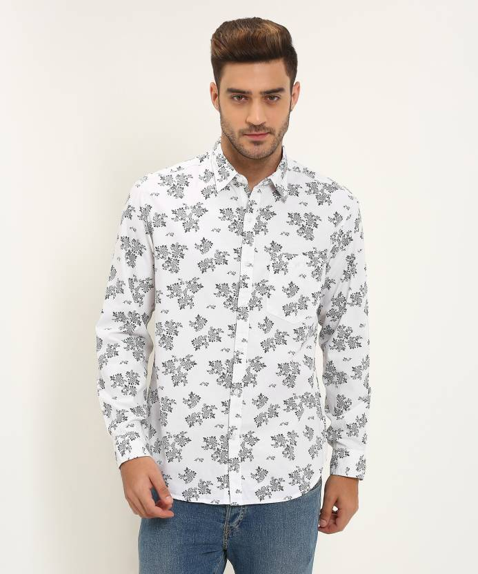 2a9a370b293 John Players Men's Floral Print Casual White Shirt