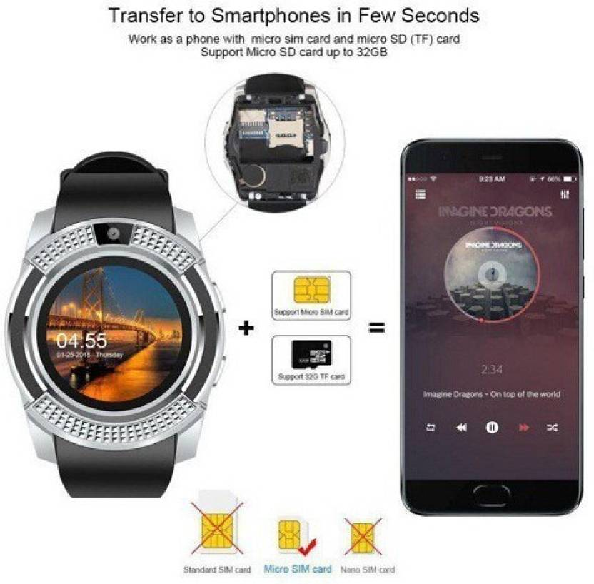 GUG V8 Bluetooth Smartwatch With Sim & Tf Card Support With Apps Like  Facebook And Whatsapp Touch Screen Multilanguage Android/Ios Mobile Phone  Wrist