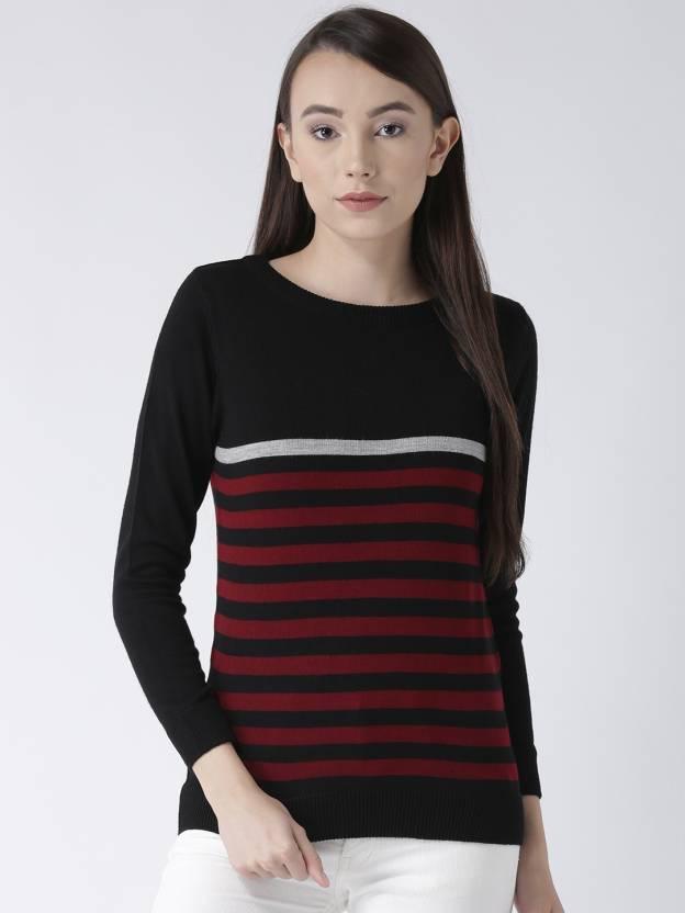 1ef57304fa88d Club York Striped Boat Neck Casual Women s Black Sweater - Buy Club York  Striped Boat Neck Casual Women s Black Sweater Online at Best Prices in  India ...