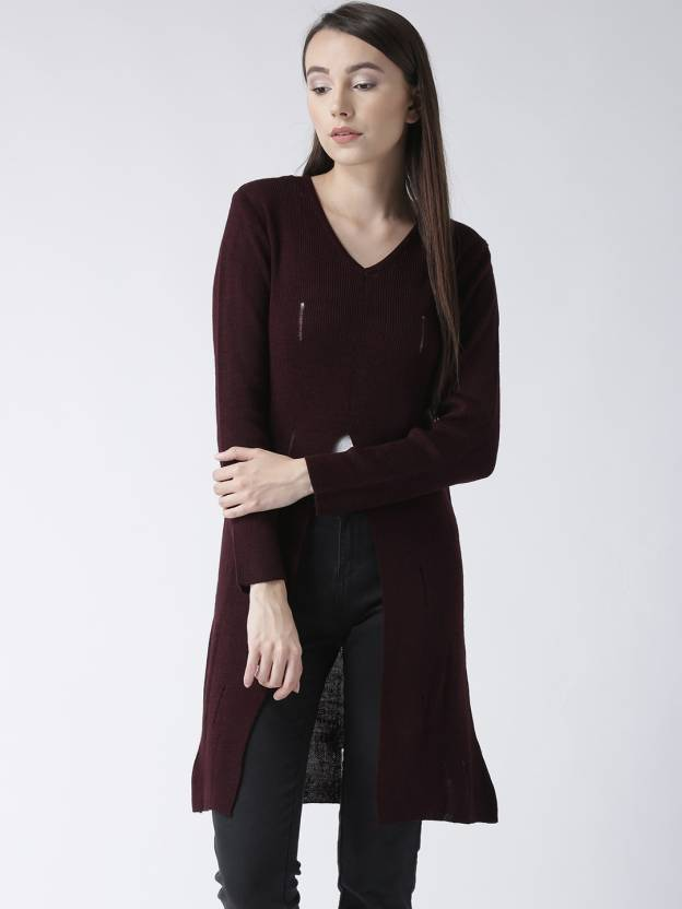 3a168e1052 Club York Solid V-neck Casual Women s Maroon Sweater - Buy Club York Solid  V-neck Casual Women s Maroon Sweater Online at Best Prices in India