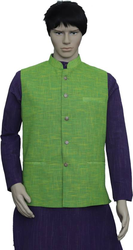 12e74d28c5f8 PUNEKAR COTTON KHADI Half Sleeve Solid Men s Jacket - Buy PUNEKAR COTTON  KHADI Half Sleeve Solid Men s Jacket Online at Best Prices in India