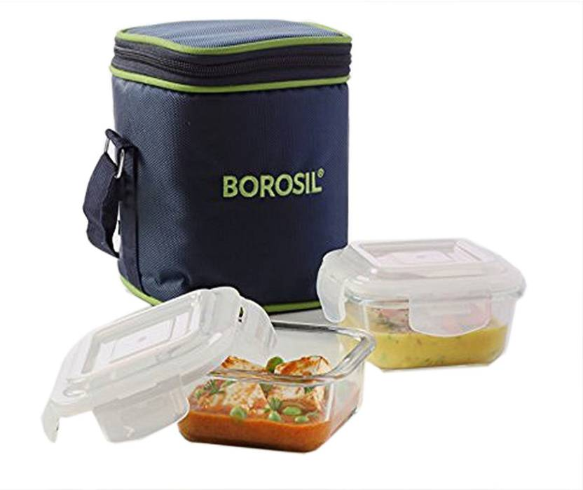 Borosil Glass Tiffin Set 2 Containers Lunch Box 320 ml