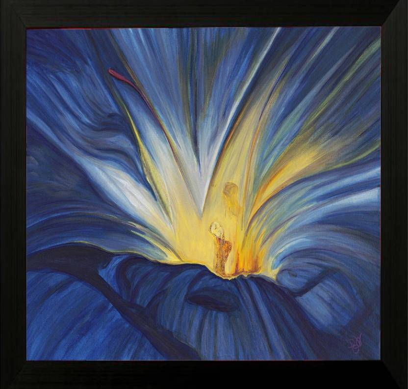 Pintura Beautiful Flower Designer Painting With Wooden Frame Frame