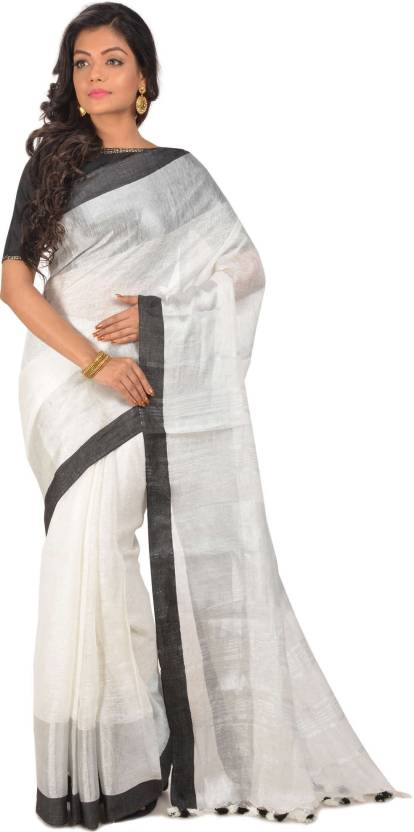 a9a813eb55 Buy Rene Solid Handloom Linen White Sarees Online @ Best Price In ...