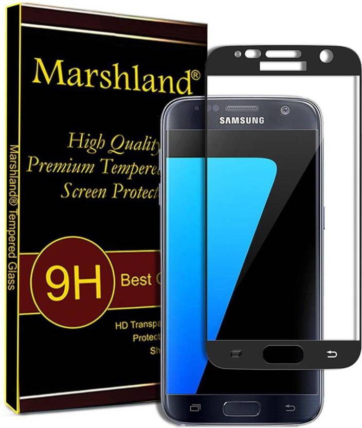 Marshland Tempered Glass Guard for Samsung Galaxy S7 Ultra Clear & 5D Curved Screen Protector Edge-To-Edge 9H Hardness Tempered Glass (Black) (Pack of 1)