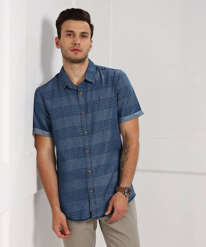 bf613158 Tommy Hilfiger Men's Self Design Casual Blue Shirt - Buy Blue Tommy  Hilfiger Men's Self Design Casual Blue Shirt Online at Best Prices in India  | Flipkart. ...