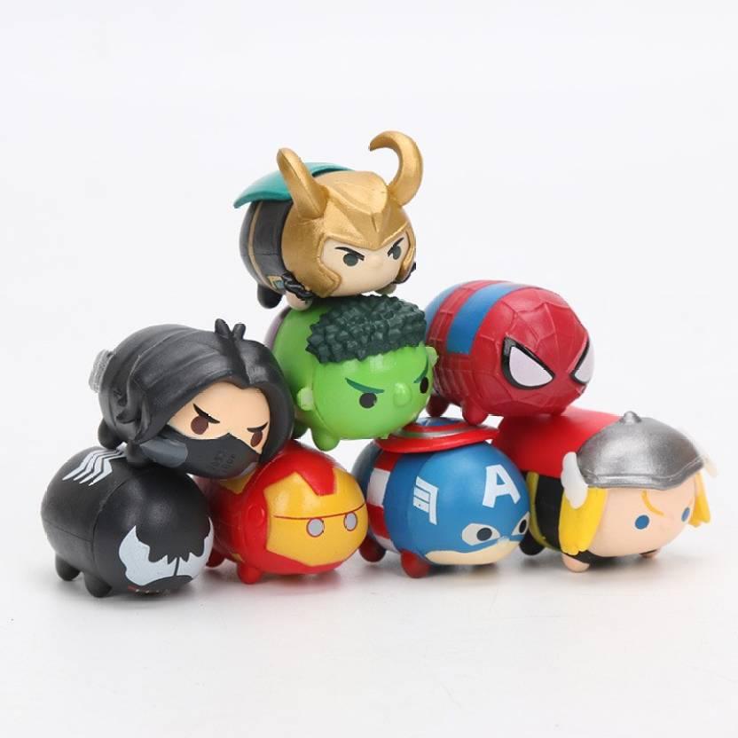 new styles 13044 32c89 imodish Marvel Avengers Tsum Tsum Infinity War Set Of 8 Pcs. Loki, Hulk,  Spiderman, Hawkeye, Iron Man, Captain America, Ant Man Action Figures  (Multicolor)