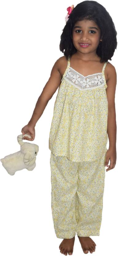 3225a728ae wowme Kids Nightwear Girl's Floral Print Cotton Price in India - Buy ...